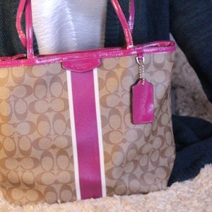 Coach Pink Striped with Brown Jacquard PVC Tote